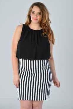 A moda plus size preto e branco é muito amiga das mulheres gordinhas, pois auxilia a valorizar a silhueta mais voluptuosa (Foto: Divulgação)