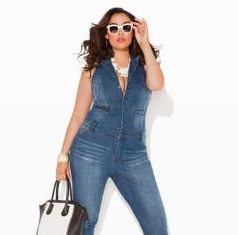 Moda de Macacão Jeans para Gordinhas