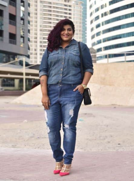 Look total jeans para gordinhas for Tucked in shirt plus size