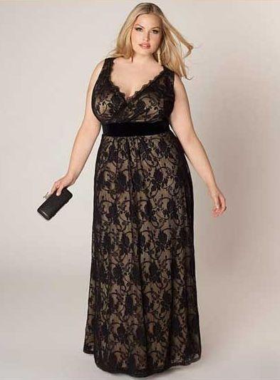 Vestidos Plus Size de Renda Longo
