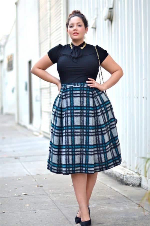 moda plus size saia rodada