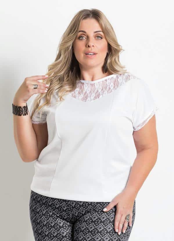 6b854e09a69a Modelos de blusas plus size com renda