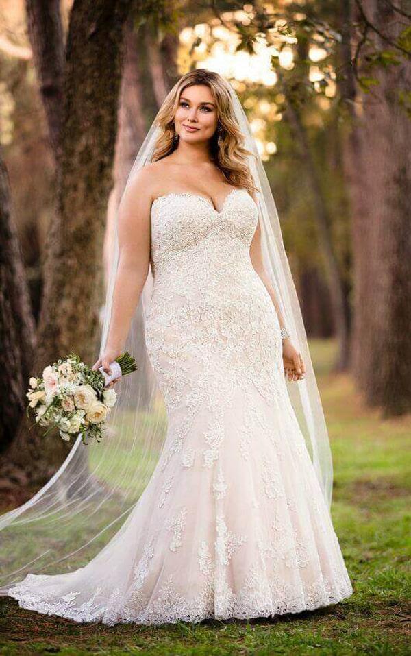 vestido plus size de noiva delicado