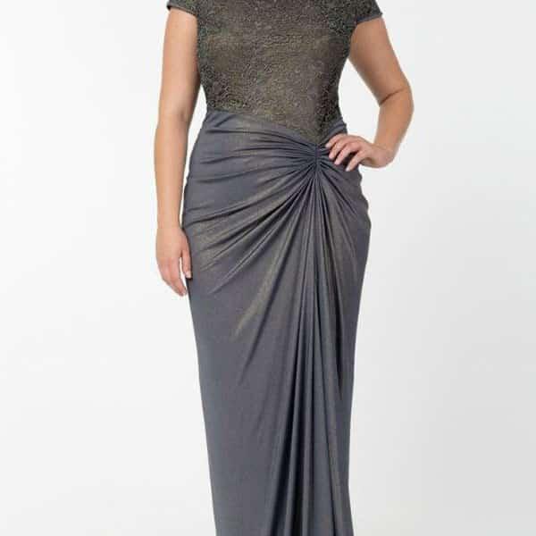 Vestidos longos para festa que emagrecem drapeado cinza