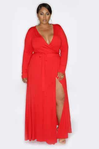 Vestido de renda longo para gorda