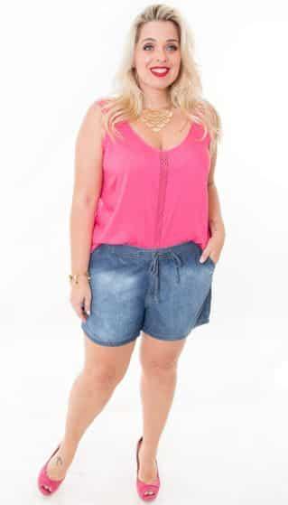 2775826c7 Shorts Jeans para Gordinhas Modelos 2016 1 - Plus Size com Estilo