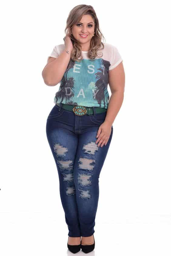 Destroyed Jeans Plus Size