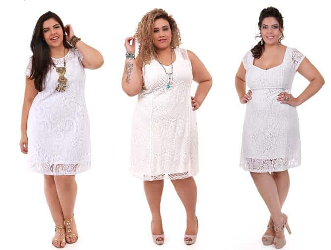 vestido branco plus size curto