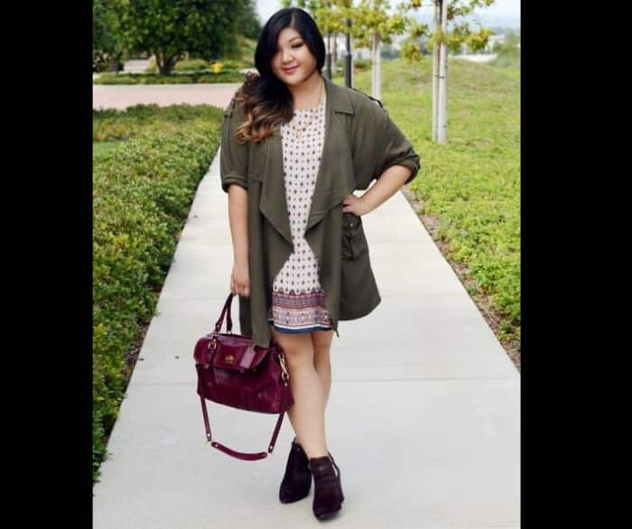 look plus size com estampa