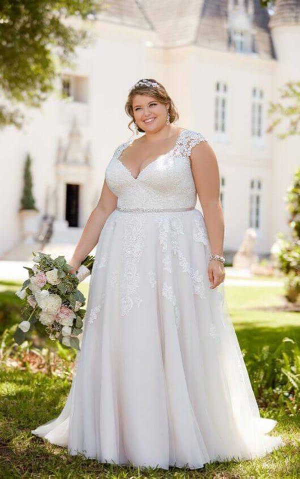 vestido plus size de noiva com cintura