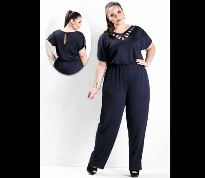look plus size macacao