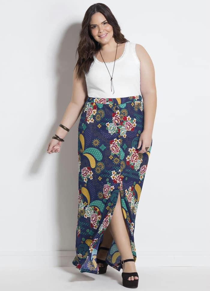 look plus size saia longa