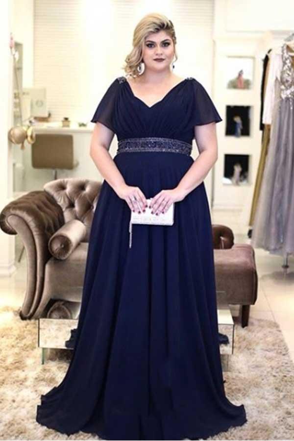 4e67bc87d vestidos-longo-festa-que-emagrecem-azul-marinho - Plus Size com Estilo